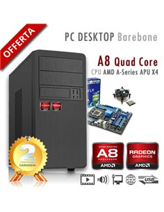 PC AMD APU A8 X4 7600 Quad Core/Ram 4GB/PC Assemblato Barebone Computer Desktop