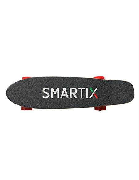 SKATE SHORT SMARTIX SM99-F14 NERO/ROSSO SUPP.FINO 100KG- DIST.PERC.10KM- VEL.MAX 15KM/H-RICARICA 90'-MOD.CONTROLLO-350W