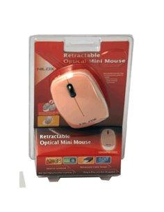 MOUSE X NB USB NILOX 10NXMP0812002 OTTICO 3TASTI+SCROLL ROSA CON CAVO RETRATTILE EAN 8033776004547 -GARANZIA 2 ANNI-