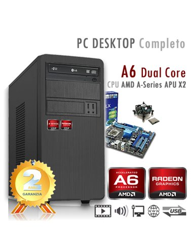 PC AMD APU A6 X2 9500 Dual Core/Ram 16GB/SSD 240GB/PC Assemblato Completo Computer Desktop