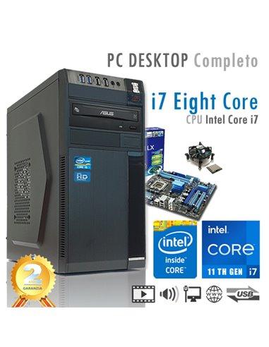 PC Intel Core i7-11700 Eight Core/Ram 16GB/SSD 480GB/PC Assemblato Completo Computer Desktop