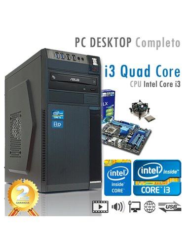 PC Intel Core i3-9100 Quad Core/Ram 8GB/SSD 240GB/PC Assemblato Completo Computer Desktop
