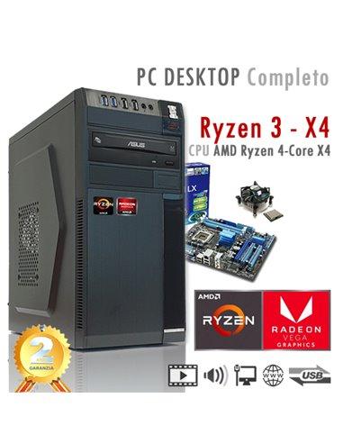 PC AMD Ryzen 3 X4 3200G Quad Core/Ram 8GB/SSD 480GB/PC Assemblato Completo Computer Desktop