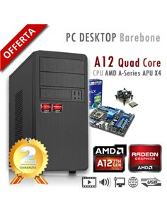 PC AMD APU A12 X4 9800 Quad Core/Ram 2GB/PC Assemblato Barebone Computer Desktop